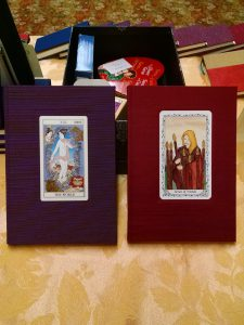 A pair of custom tarot card journals